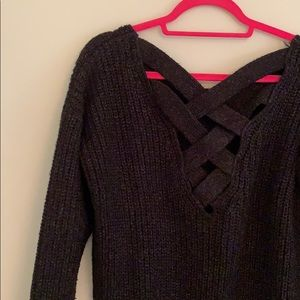 Criss Cross-back Pullover Slouchy Sweater
